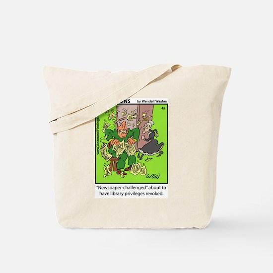 #45 Newspaper challenged Tote Bag
