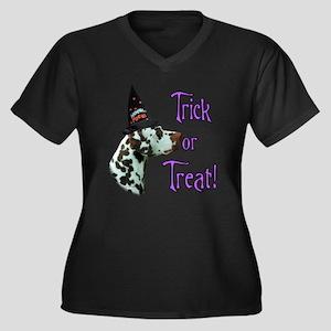 Dalmatian Trick Women's Plus Size V-Neck Dark T-Sh