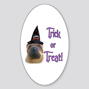 Shar Pei Trick Oval Sticker