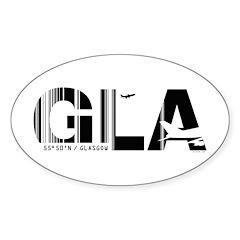 Glasgow Airport Code GLA Scotland Oval Decal