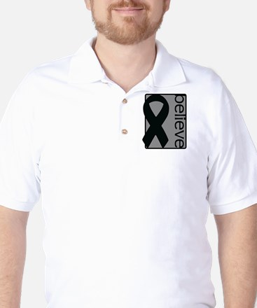Gray (Believe) Ribbon Golf Shirt