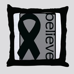 Gray (Believe) Ribbon Throw Pillow