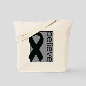 Gray (Believe) Ribbon Tote Bag