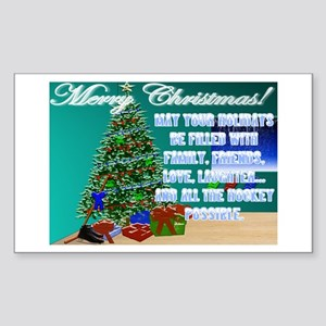 Christmas Hockey Cards & Gifts 2 Sticker (Rect