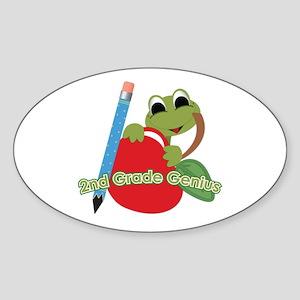 2nd Grade Genius Frog Oval Sticker