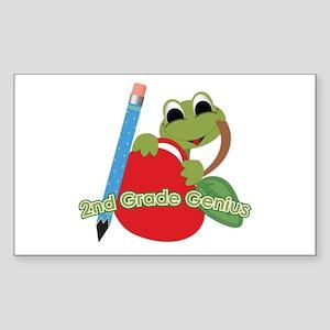 2nd Grade Genius Frog Rectangle Sticker
