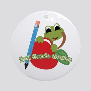 2nd Grade Genius Frog Ornament (Round)