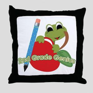 2nd Grade Genius Frog Throw Pillow