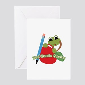 2nd Grade Genius Frog Greeting Card