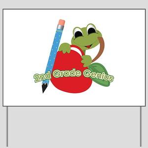 2nd Grade Genius Frog Yard Sign
