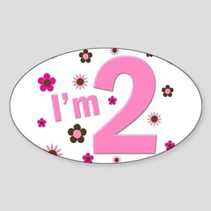 """""""I'm 2"""" Pink & Brown Flowers Oval Sticker"""