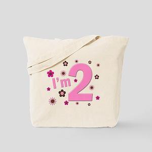 """I'm 2"" Pink & Brown Flowers Tote Bag"