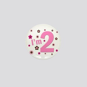 """""""I'm 2"""" Pink & Brown Flowers Mini Button"""