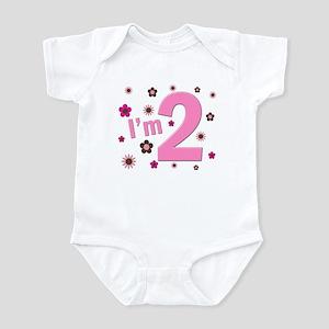 """I'm 2"" Pink & Brown Flowers Infant Bodysuit"