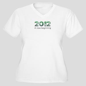 2012 Beginning Women's Plus Size V-Neck T-Shirt