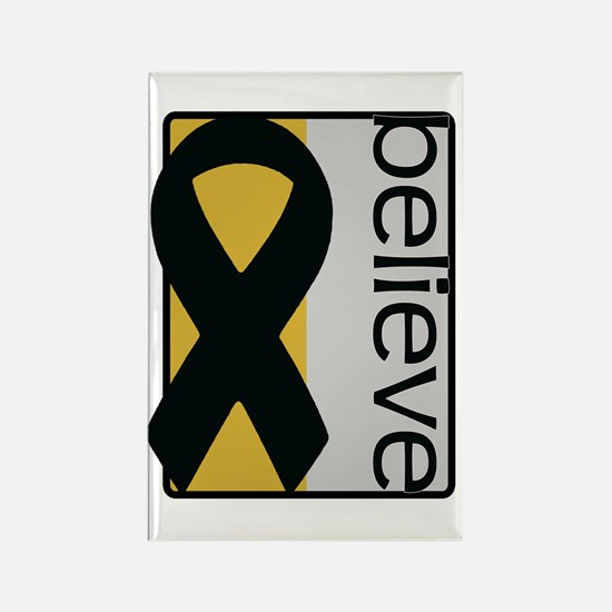 Gold and Silver (Believe) Ribbon Rectangle Magnet