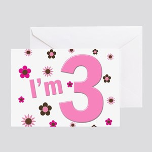 """""""I'm 3"""" Pink & Brown Flowers Greeting Card"""