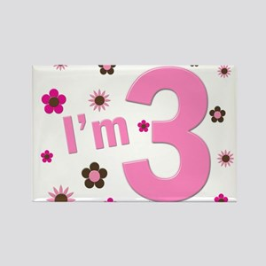 """""""I'm 3"""" Pink & Brown Flowers Rectangle Magnet"""