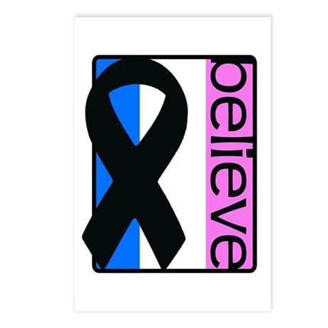 Blue White Pink (Believe) Ribbon Postcards (Packag
