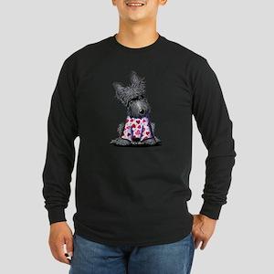 PJs Scottie Terrier Long Sleeve Dark T-Shirt