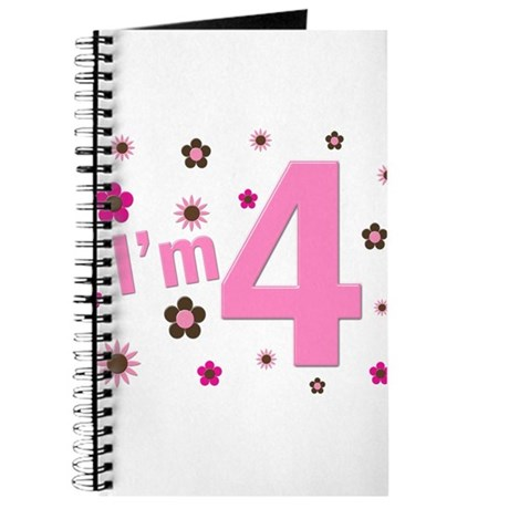 """""""I'm 4"""" Pink & Brown Flowers Journal"""