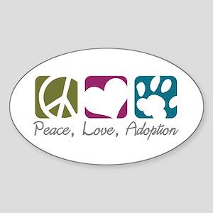 Peace, Love, Adoption Oval Sticker
