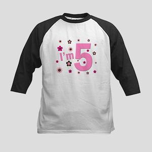 """I'm 5"" Pink & Brown Flowers Kids Baseball Jersey"