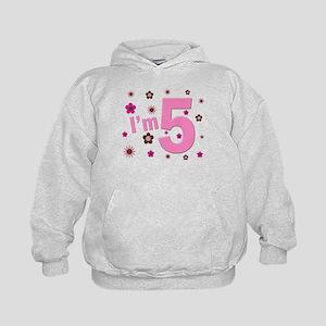 """""""I'm 5"""" Pink & Brown Flowers Kids Hoodie"""