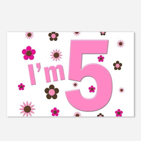 """""""I'm 5"""" Pink & Brown Flowers Postcards (Package of"""