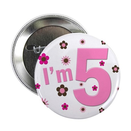 """""""I'm 5"""" Pink & Brown Flowers 2.25"""" Button (10 pack"""