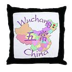Wuchang China Map Throw Pillow