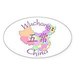 Wuchang China Map Oval Sticker (10 pk)