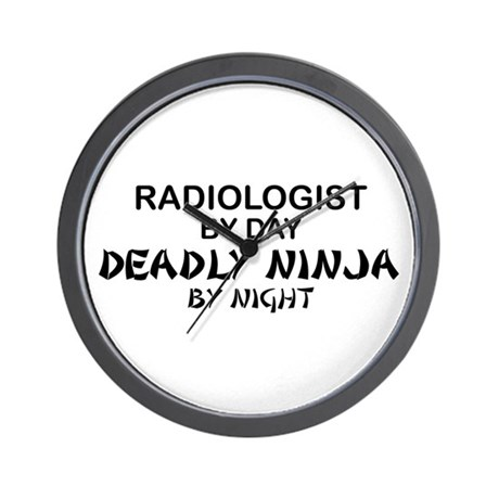 Radiologist Deadly Ninja by Night Wall Clock