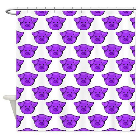 Purple Pigs Shower Curtain