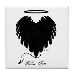 Black Heart Wings Tile Coaster