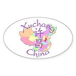 Xuchang China Map Oval Sticker (10 pk)