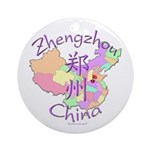 Zhengzhou China Map Ornament (Round)