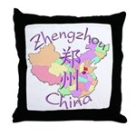 Zhengzhou China Map Throw Pillow