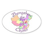 Zhengzhou China Map Oval Sticker (10 pk)