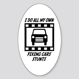 Fixing Cars Stunts Oval Sticker
