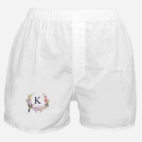 Hummingbird Floral Wreath Monogram Boxer Shorts