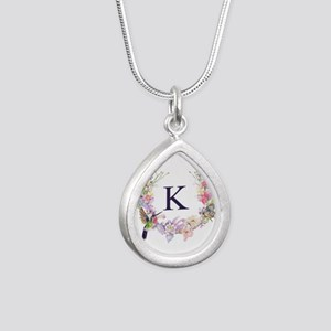 Hummingbird Floral Wreath Monogram Necklaces