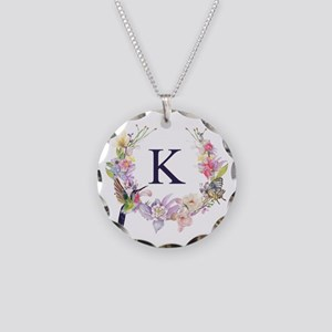 Hummingbird Floral Wreath Monogram Necklace