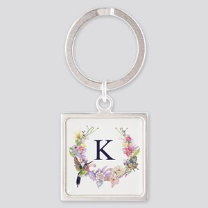 Hummingbird Floral Wreath Monogram Keychains