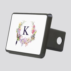Hummingbird Floral Wreath Monogram Hitch Cover