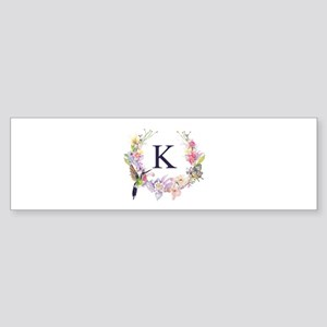 Hummingbird Floral Wreath Monogram Bumper Sticker