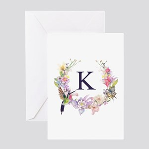 Hummingbird Floral Wreath Monogram Greeting Cards