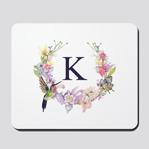 Hummingbird Floral Wreath Monogram Mousepad