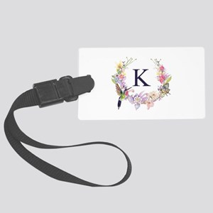 Hummingbird Floral Wreath Monogram Luggage Tag