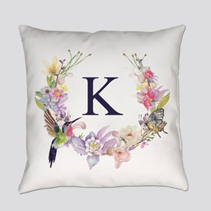 Hummingbird Floral Wreath Monogram Everyday Pillow